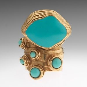 Authentic YSL Arty Ring Turquoise Gold Size 5